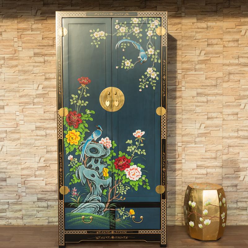 热销9件不包邮新中式彩绘香樟木实木衣柜仿古衣柜古典彩绘定制卧室双门衣柜