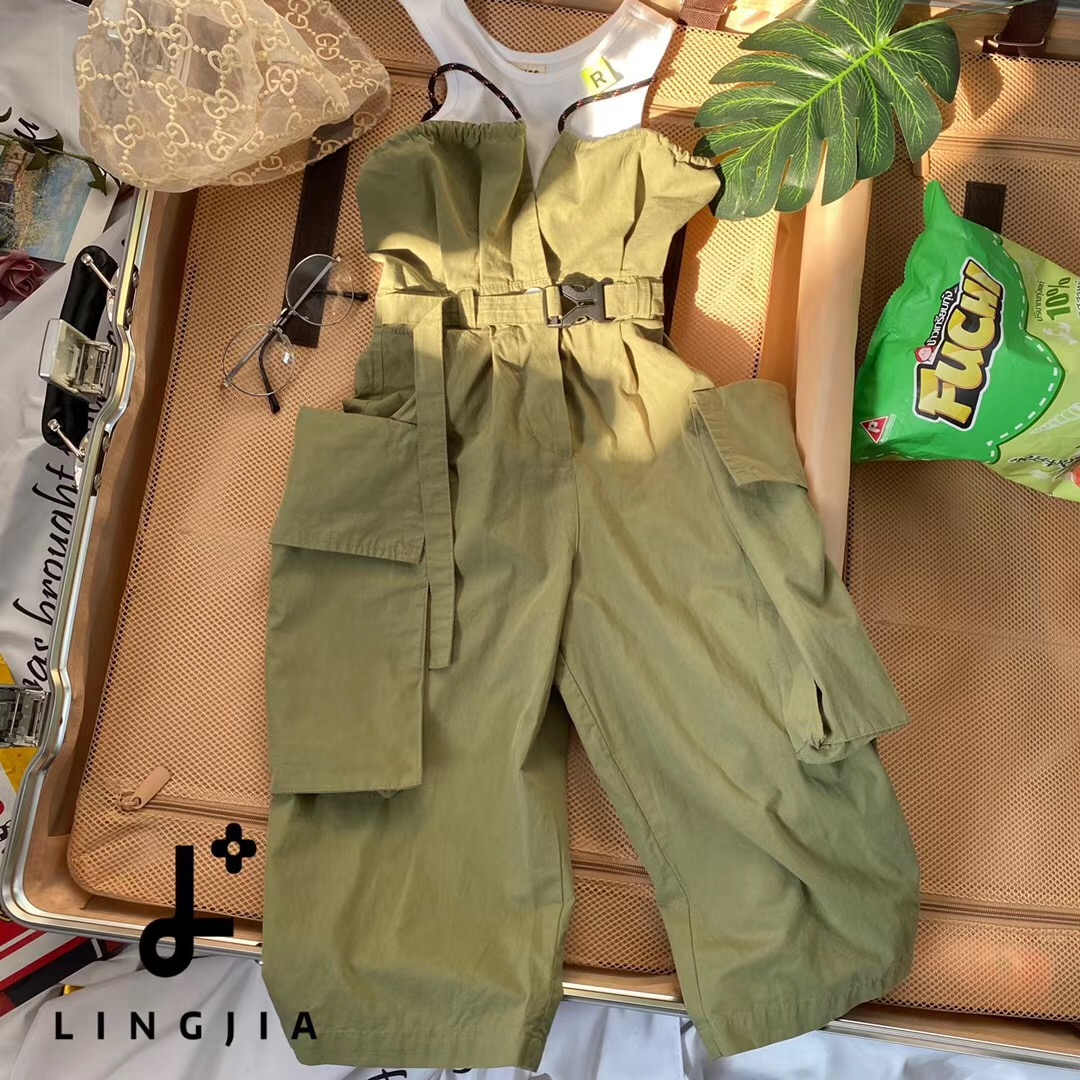 South Korean childrens clothing 2020 summer girls trendy thin cotton tooling suspender Jumpsuit casual pants big pocket trendy cool