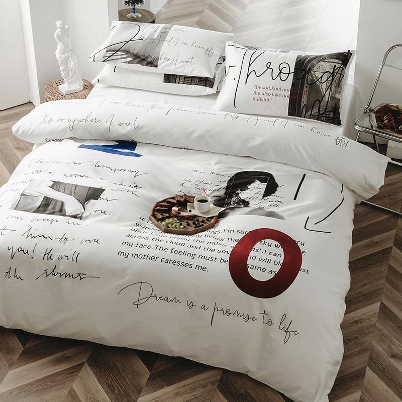 白色全棉潮牌被套1.8床上用品 纯棉简约60s长绒棉网红ins风四件套