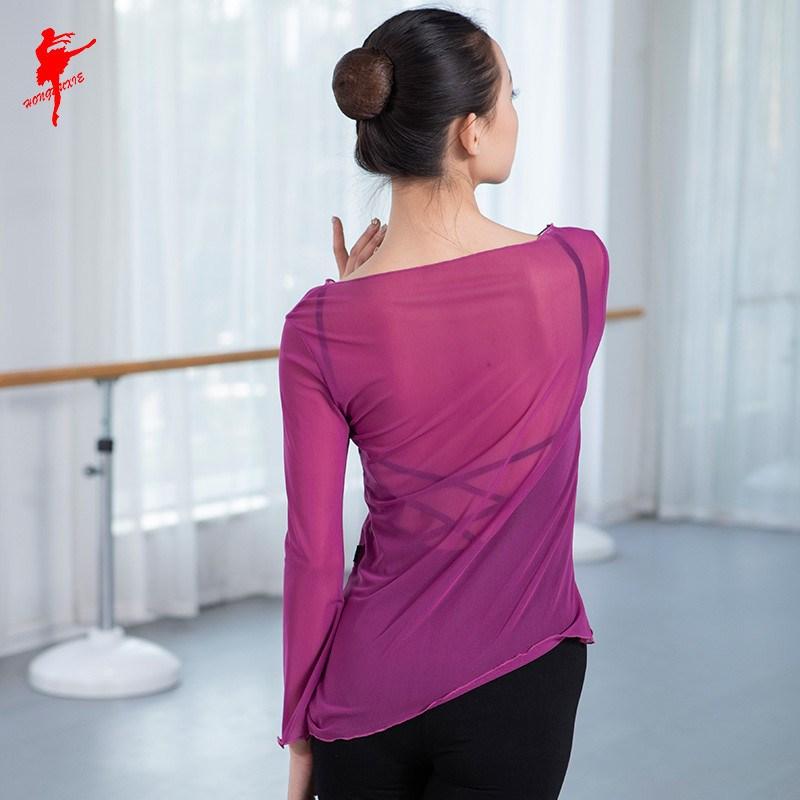 圆领弹力网上衣 女款舞蹈服练功外衫喇叭袖上衣体操服395。