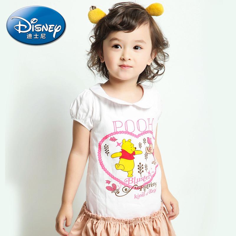 迪士尼兒  女童夏裝梭織連衣裙純棉短袖裙子中小童公主裙2016