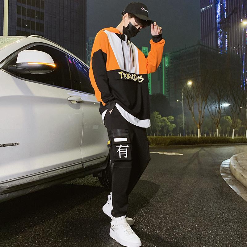 【控120】连帽卫衣男2019春季新款青少年休闲运动套装BT103 P98