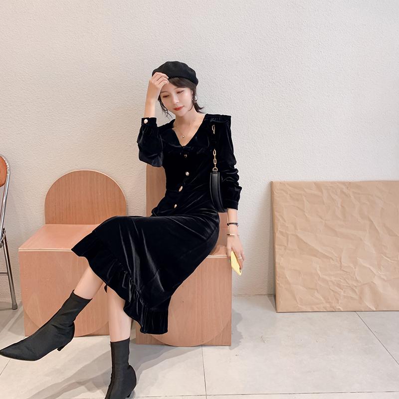 蓝语大码女装复古韩国绒连衣裙胖