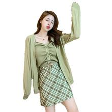 Early autumn 2019 new butter green knitted cardigan suspender vest plaid skirt net red fashion suit for women