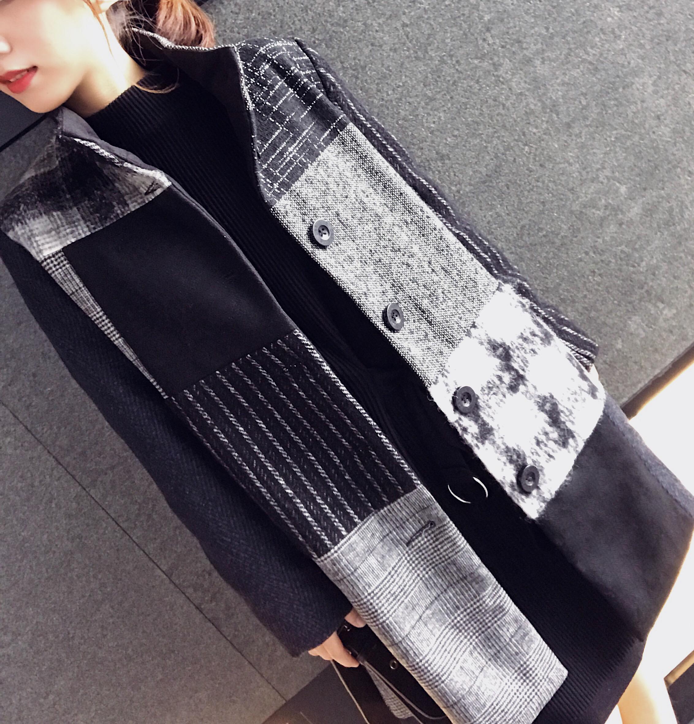 必入精品!日网三万日元超好版型拼色气质毛呢格纹大衣
