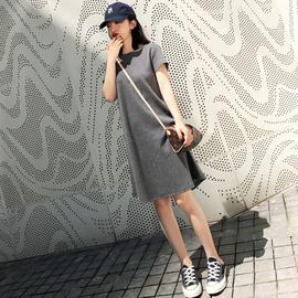 中长款纯色圆领螺纹连衣裙简约大码韩版宽松短袖T恤裙中裙夏