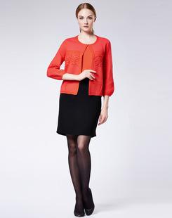 舒朗春季新款韩版灯笼袖圆领开衫