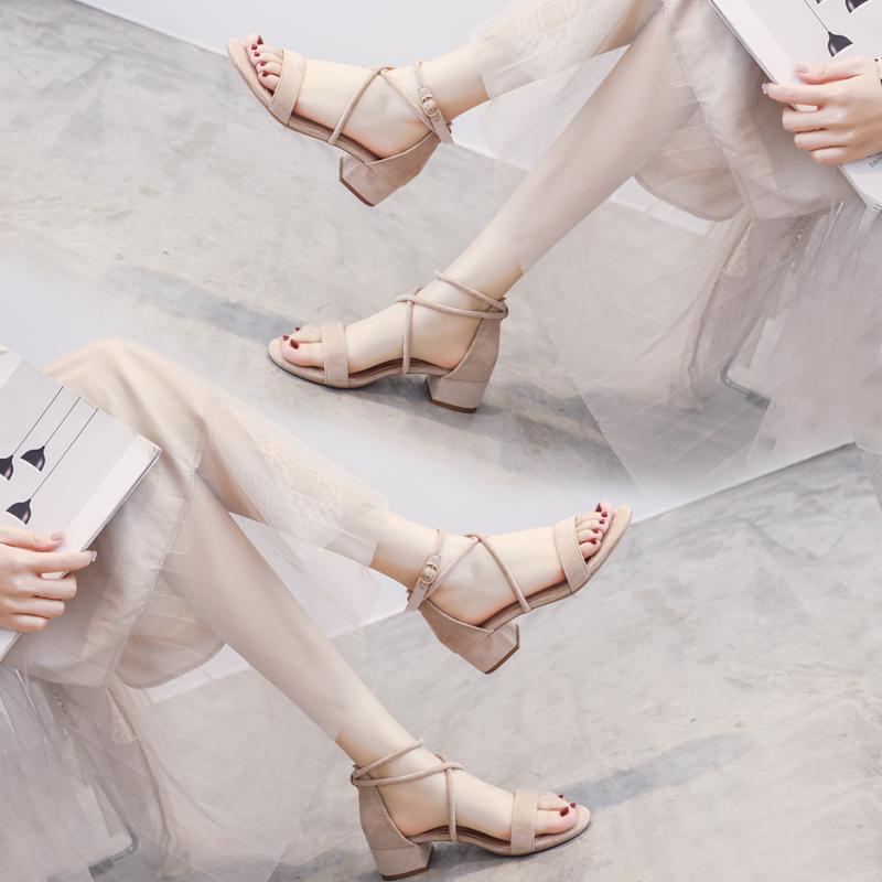 时装2021年新款女夏中跟仙女风凉鞋