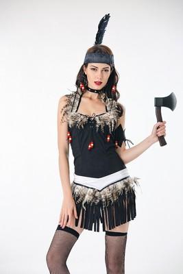 万圣节印第安人COS服土著部落野人装森林原始人猎人野人装演出服
