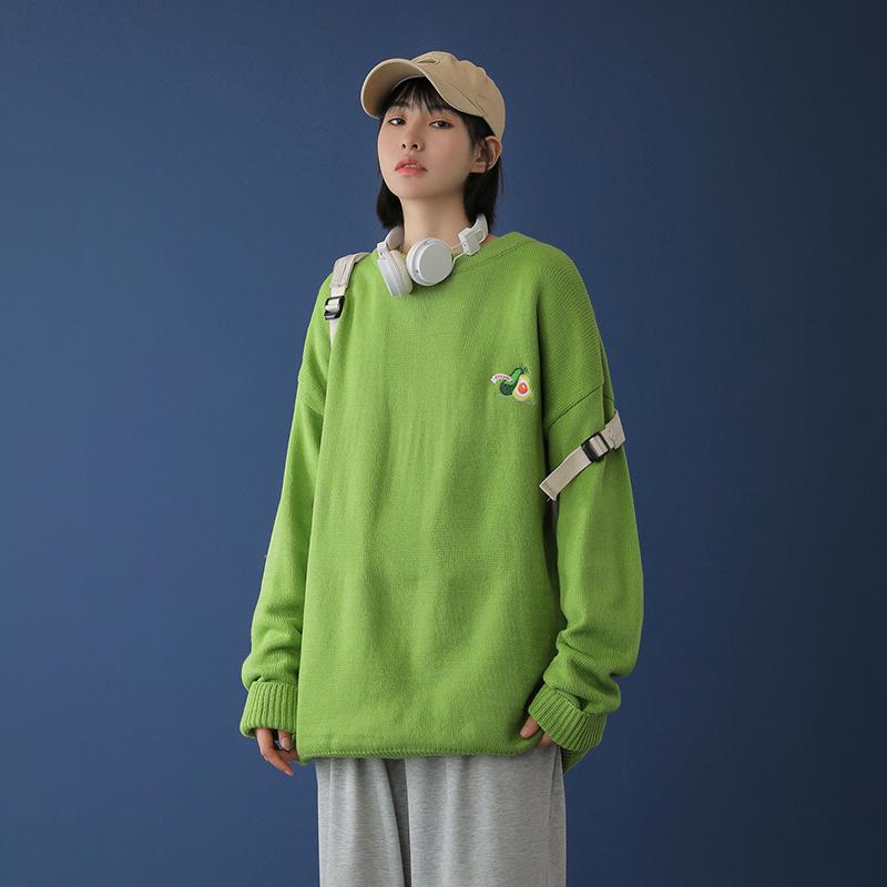中性风 20秋冬牛油果刺绣纯色毛衣针织三 M9808-P65(限78)