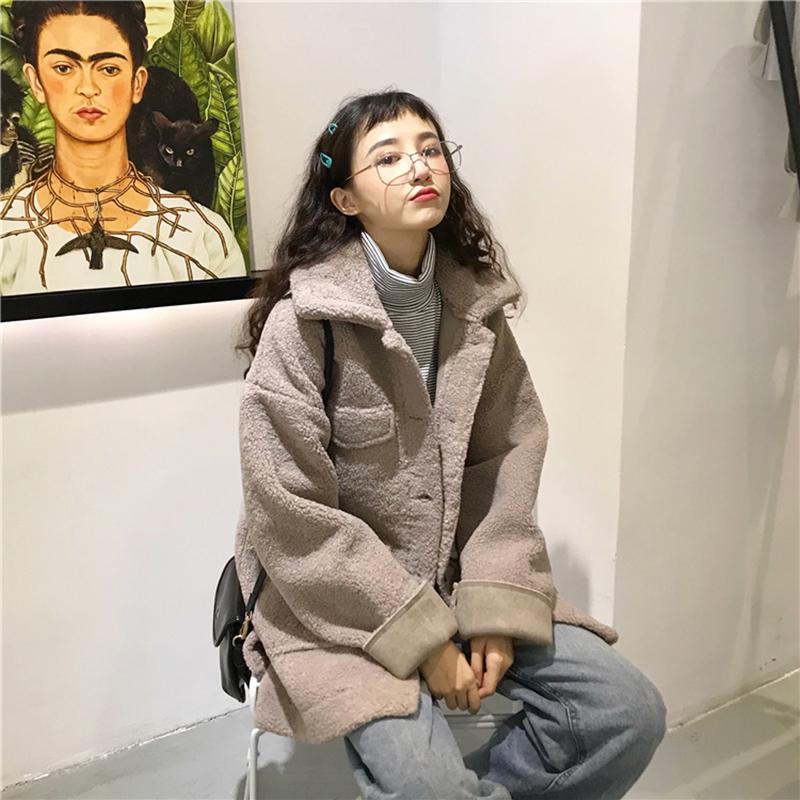 韩版宽松慵懒风加厚翻领羊羔毛外套女2018冬季新款学生棉衣外套潮