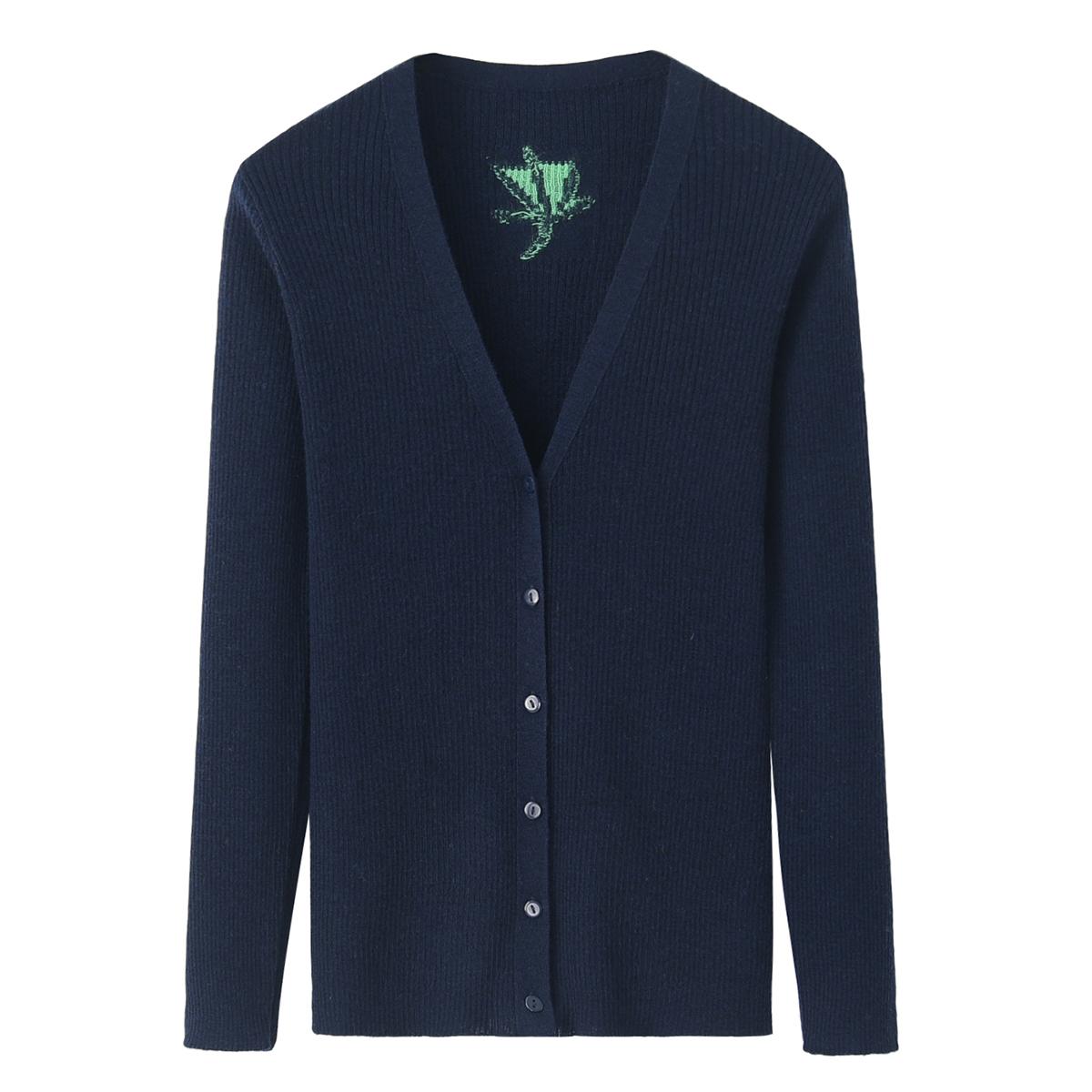 内蒙古羊毛衫女式V领针织衫纯羊毛修身对襟针织开衫外套秋新款
