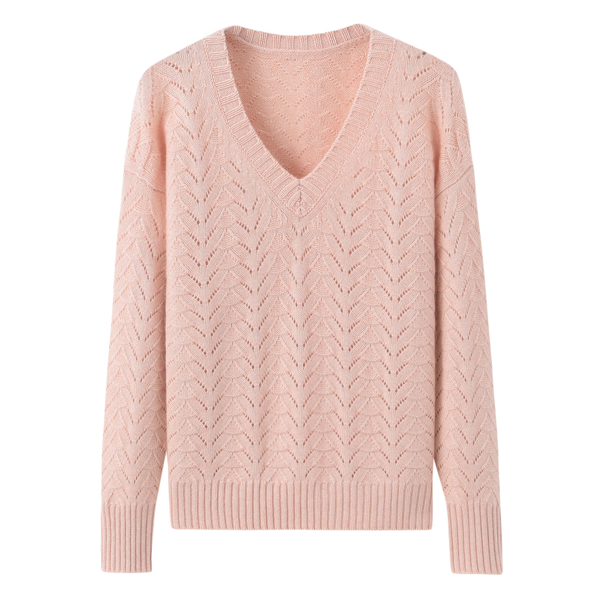 Autumn and winter new womens pure color cashmere sweater V-neck mesh hollow knitting thin casual backing sweater short sweater