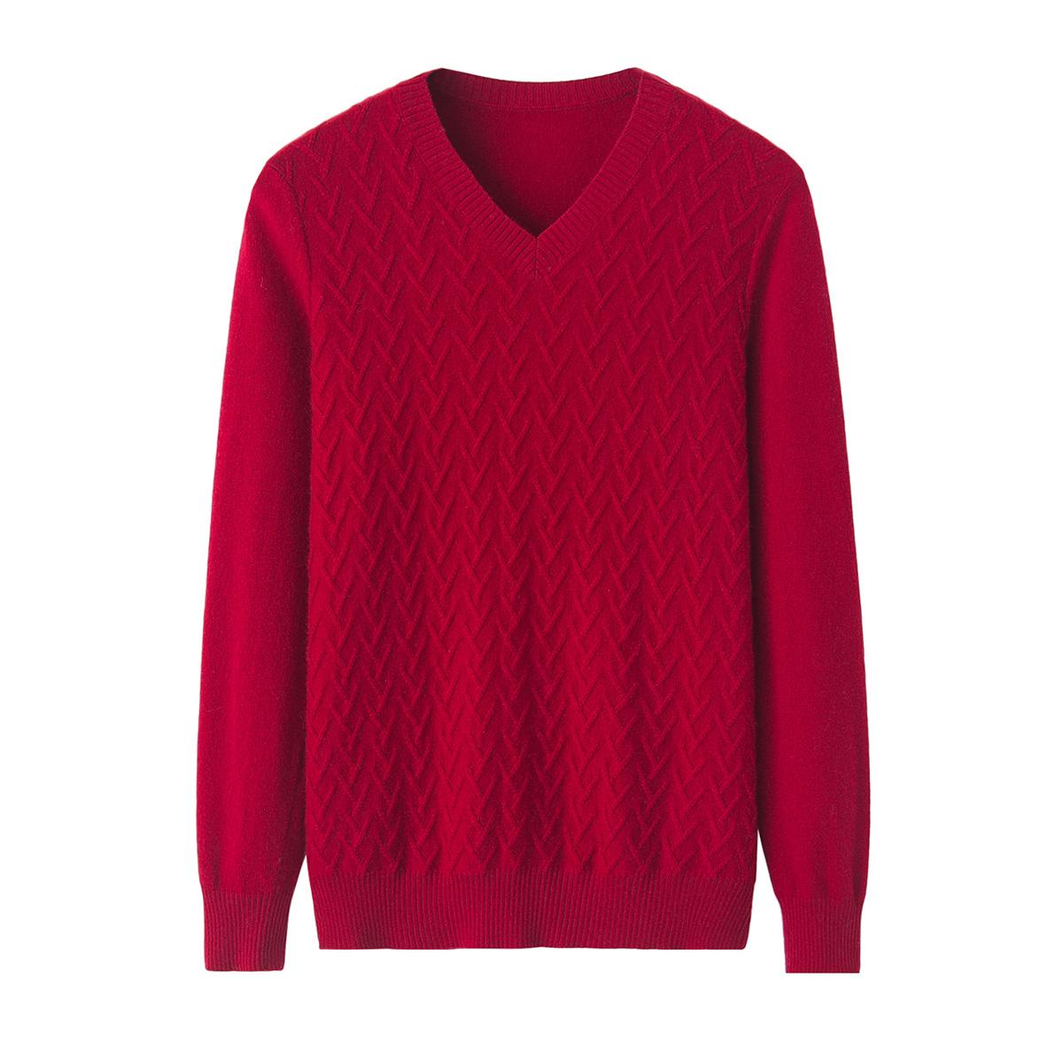 2020秋冬新款女式羊绒衫V领提花休闲针织打底衫通勤长袖毛衣正品