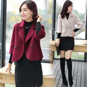 2019秋冬季雙面呢子羊毛大衣韓版修身中長款女裝毛呢外套羊絨