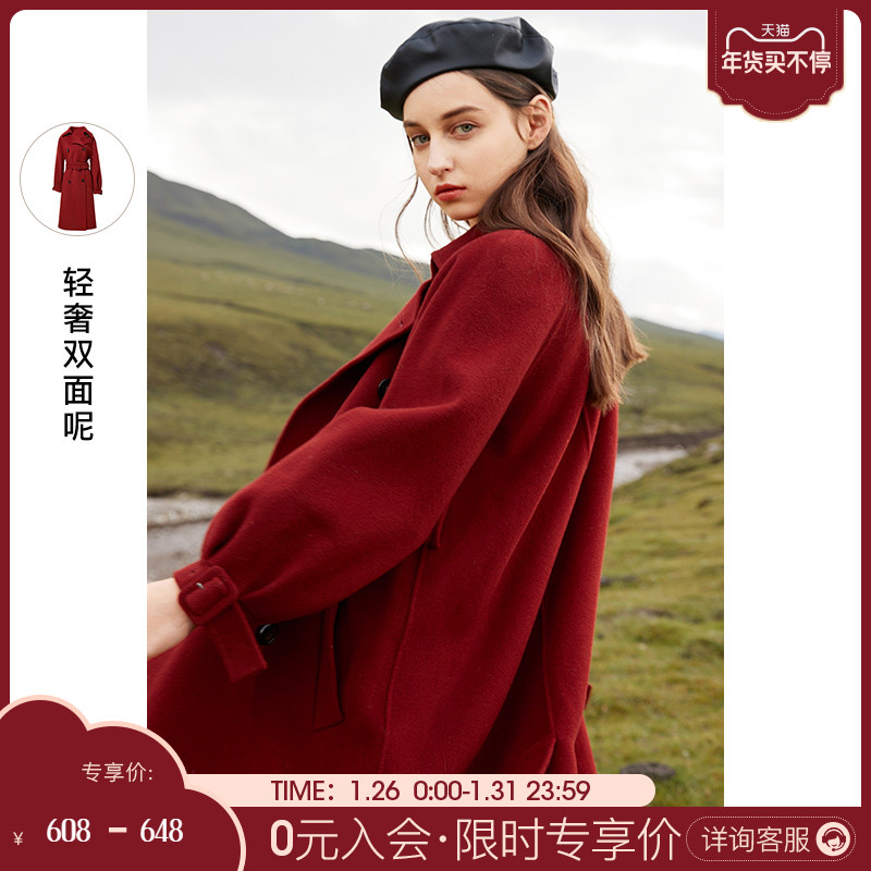 Three color 2020 winter new pure wool double-sided woolen mid-length retro coat red woolen coat women