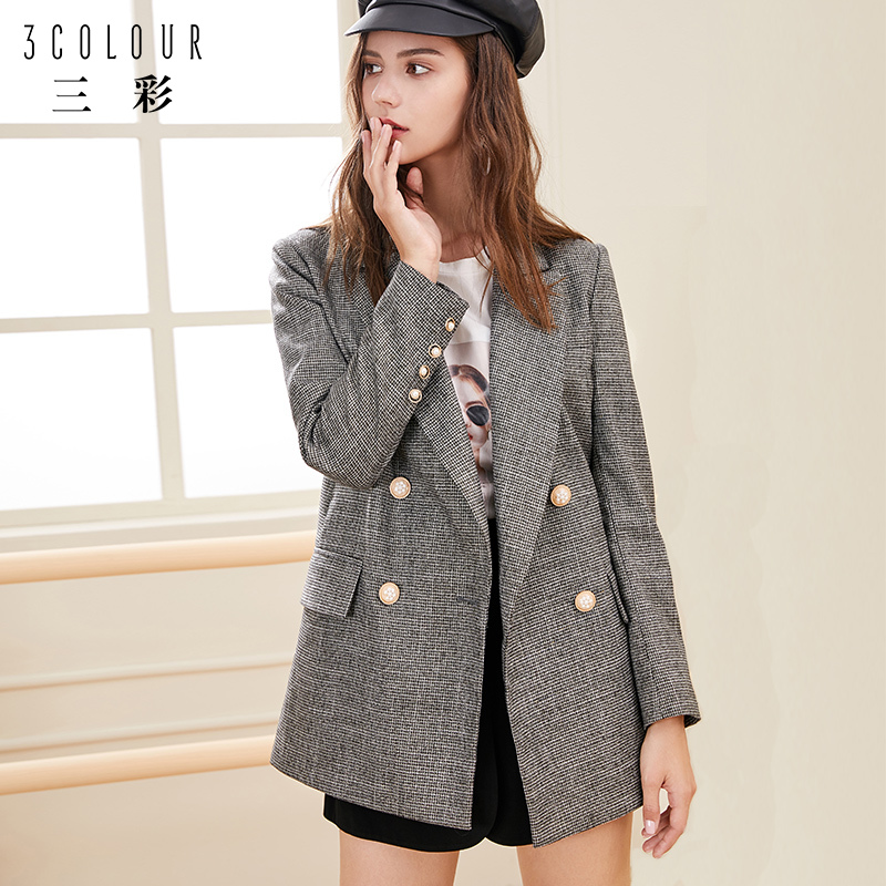 Tricolor 2020 spring new suit collar waist net red plaid long sleeve small suit Chiffon bird coat women autumn and winter