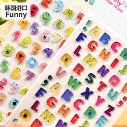 韩国Funny彩色立体卡通数字母3d水晶黏贴画儿童礼品装饰DIY贴贴纸
