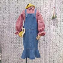 大码女装秋季胖mm胖妹妹洋气显瘦遮肉微胖减龄牛仔连衣裙两件套装
