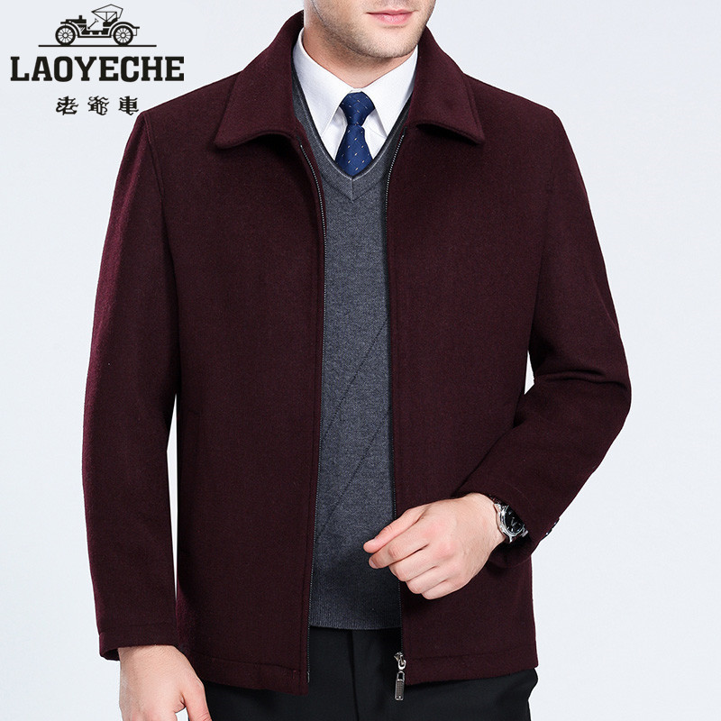 Autumn and winter middle aged mens jacket fathers autumn woolen coat