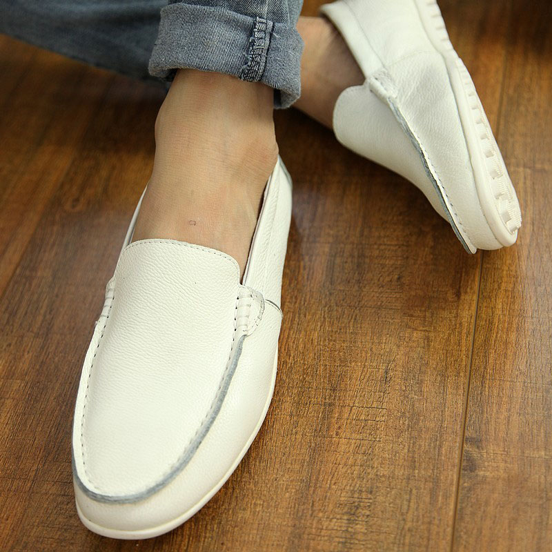 Breathable leather Doudou shoes lazy shoes mens shoes trend British mens casual couple sailing shoes white leather shoes