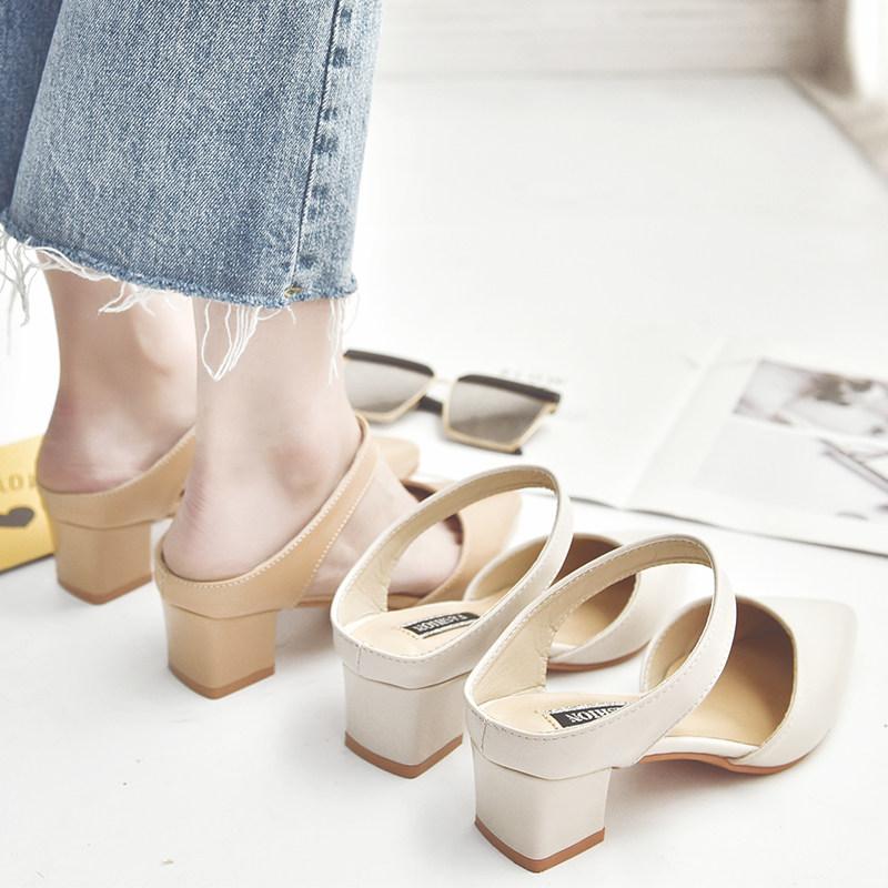 2019春夏季新款包头凉鞋中跟尖头简约粗跟中空鞋后空半拖穆勒鞋女