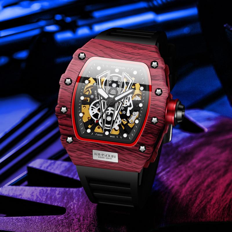 理查德抖音网红爆款镂空全自动机械表米勒手表男士硅胶时尚运动表
