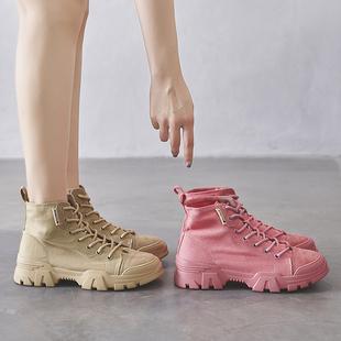 帆布马丁靴女英伦风夏季薄款透气潮ins酷百搭厚底短筒靴子女短靴图片