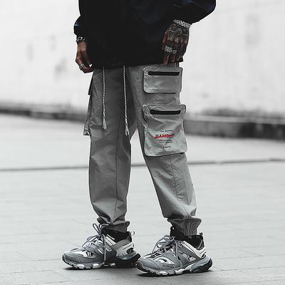 K035秋新款E ins抖音同款休闲裤工装裤多口袋宽松束脚P55