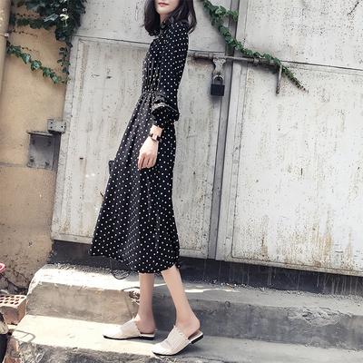 赫本长裙2019春装新款韩版长款收腰显瘦长袖波点连衣裙女黑色气质