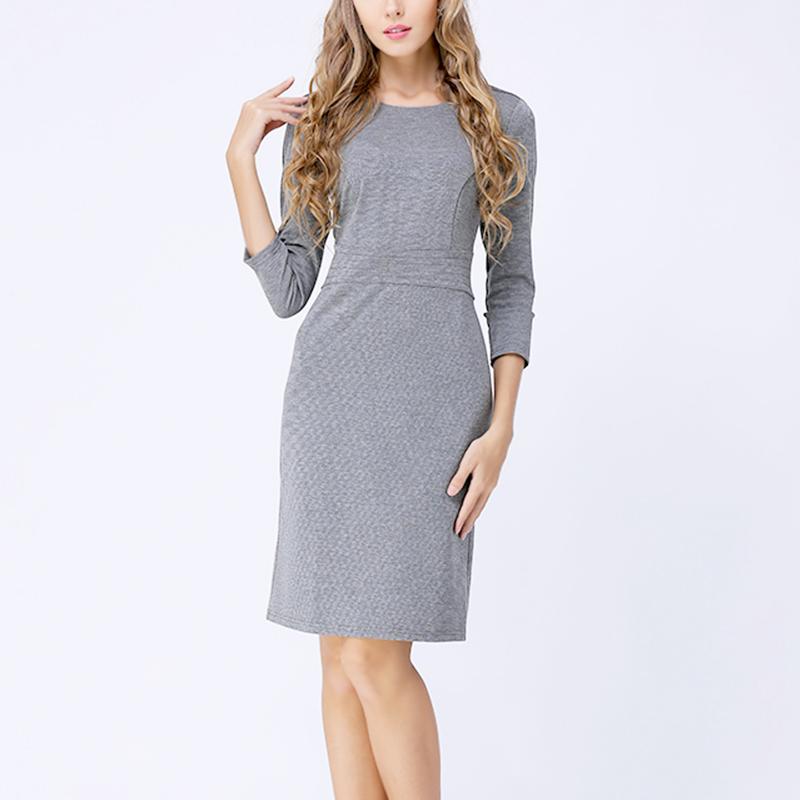 灰色弹力罗马布七分袖连衣裙2021春欧货爆款裙秋款大码女装小黑裙
