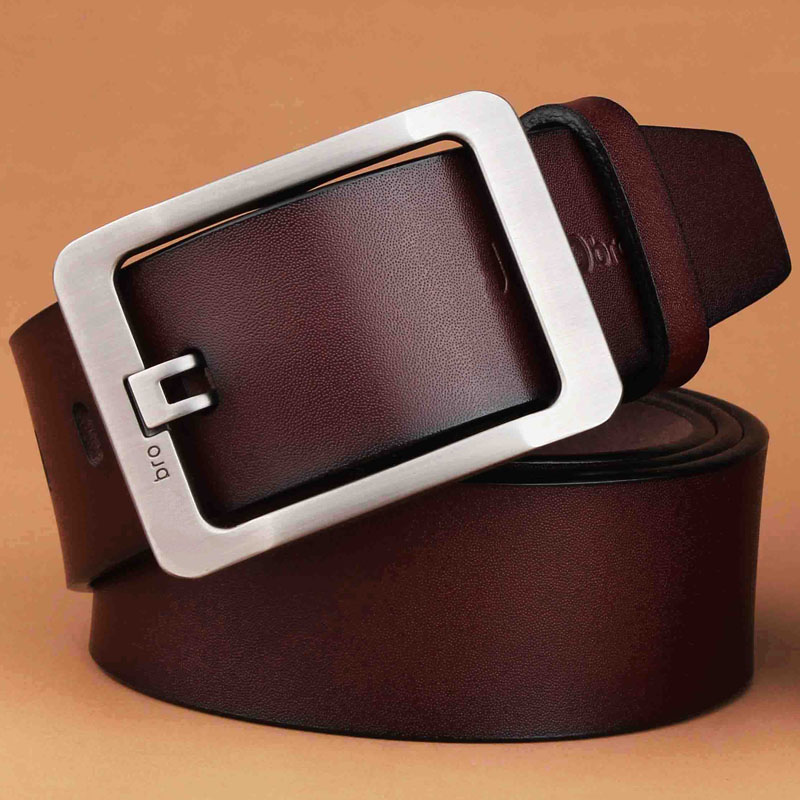 Full leather belt plus large fat wide mens leather belt, simple Japanese word buckle, versatile casual needle buckle