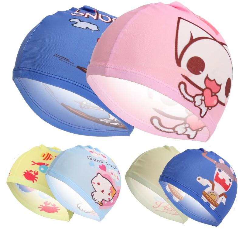 可爱卡通印花儿童游泳帽时尚多色可选幼童宝宝浴帽布帽子批舒适