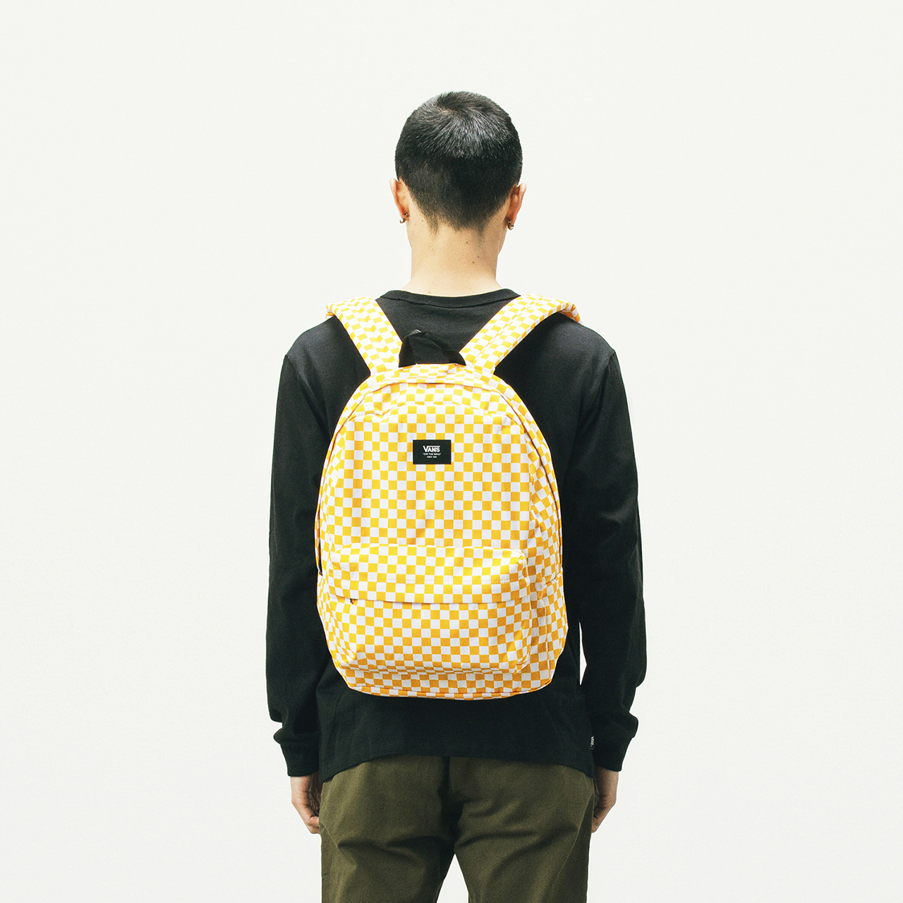 Vans Vansus Official Yellow White Chess Plate Sports Casual Male Female Couple Backpack Backpack