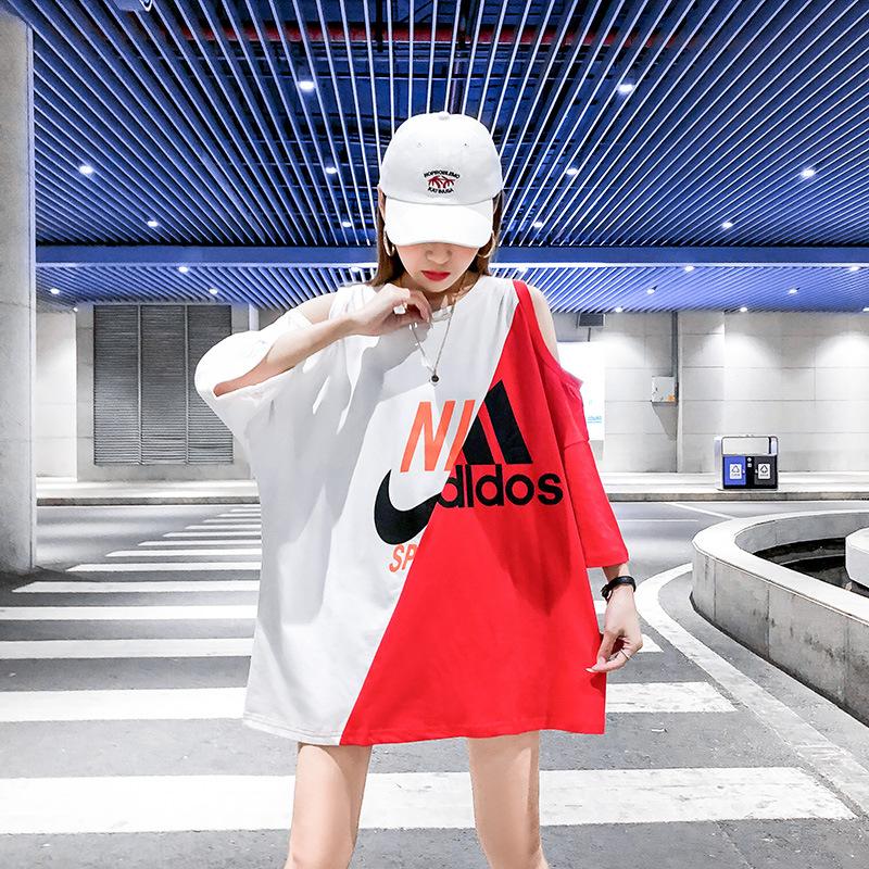 欧货大版拼接短袖t恤女2020夏季新款宽松中长款露肩半袖上衣ins潮