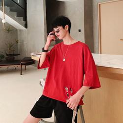 夏季时尚百搭圆领纯色刺绣短袖男T恤港风T105 P30