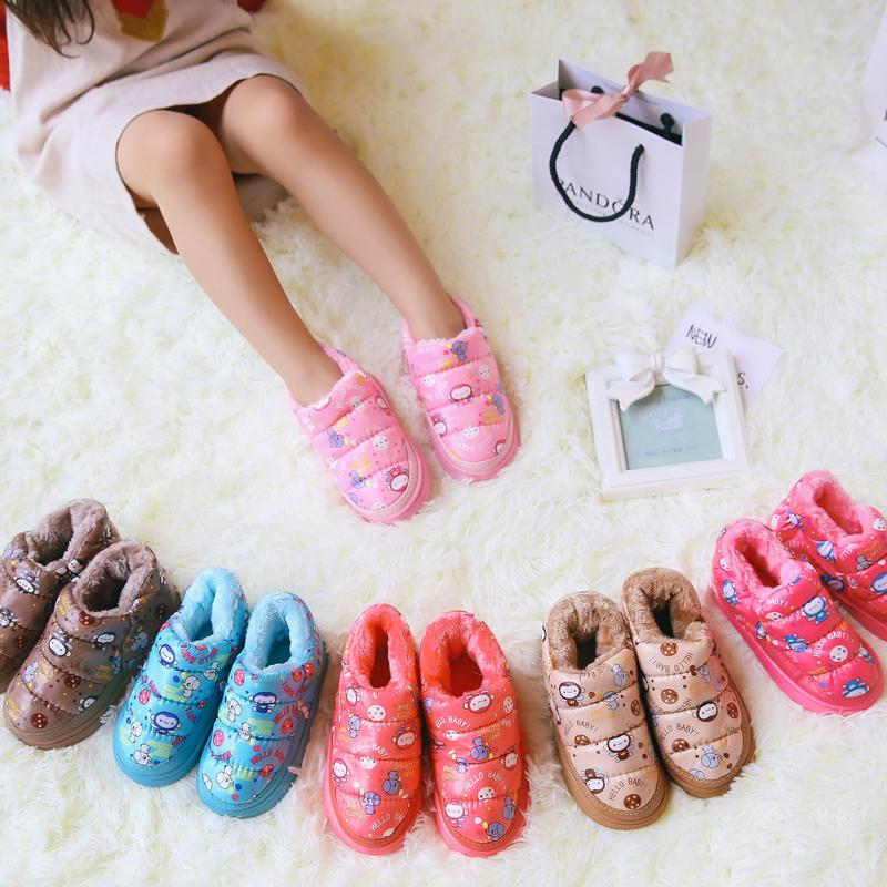 親子 加絨防水兒童棉鞋男童女童短靴加厚包跟棉拖鞋寶寶保暖鞋