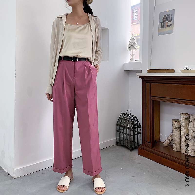 Rose red retro high waist loose drop feeling pink wide leg pants casual curling tooling straight suit pants women