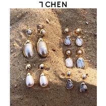 定制复古天然珍珠镀金手工包金边异形水滴长款水滴法式耳环耳坠