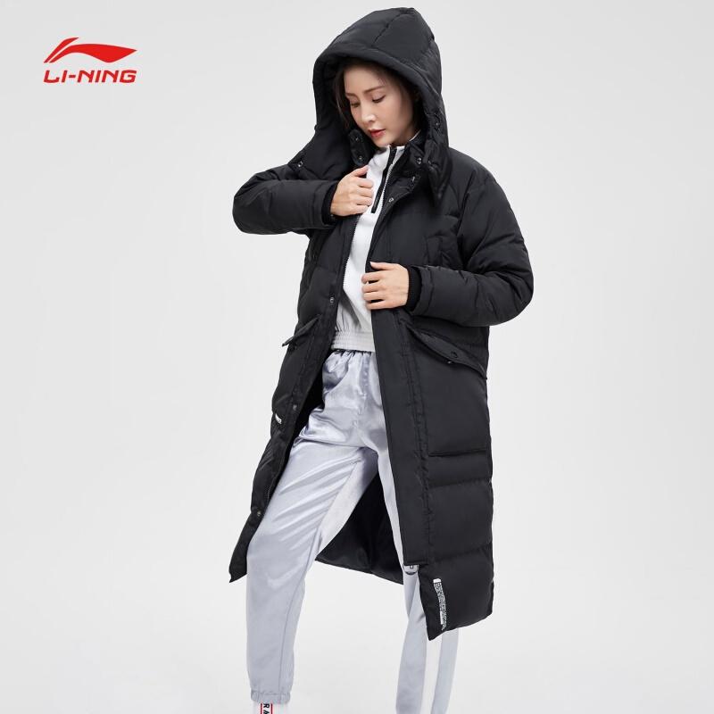 李宁羽绒服女冬训练系列保暖宽松运动外套中长款羽绒服AYMN032图片