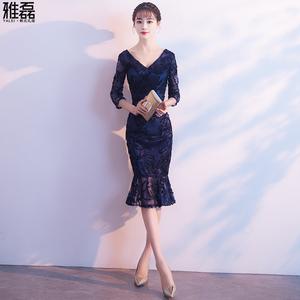晚礼服2020新款春短款修身鱼尾优雅显瘦宴会晚装小礼服性