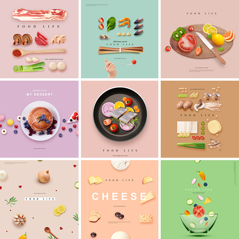 餐饮美食新鲜蔬菜水果食材肉虾甜品面包背景海报PSD设计素材91832