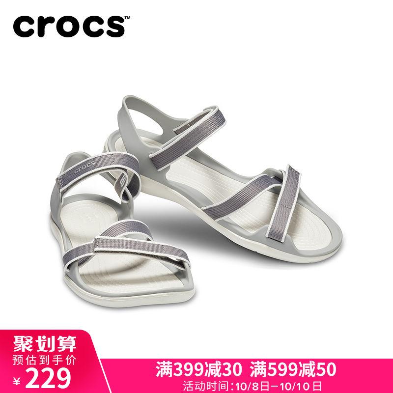 限时2件3折Crocs女鞋 2019新色激浪织带平底休闲鞋防滑耐磨涉水凉鞋|204804