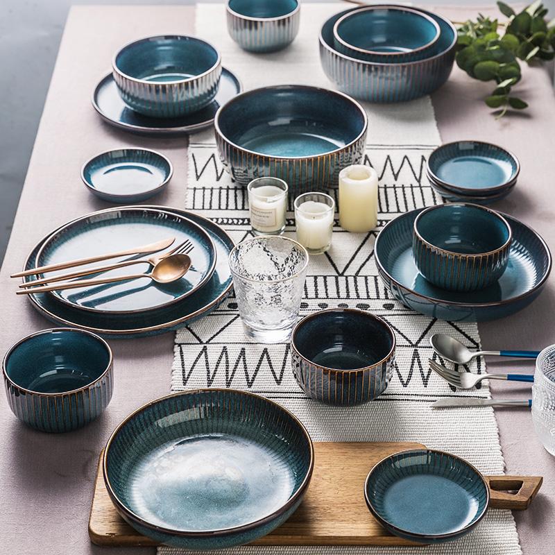 北欧网红ins风家用陶瓷餐具平盘套装菜盘饭碗沙拉碗汤碗碟子单个满35.80元可用25.9元优惠券