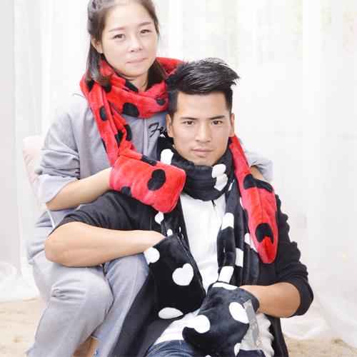 韩版冬季保暖仿皮草围巾可爱女生暖手袋袋围巾围脖百搭情侣围巾女