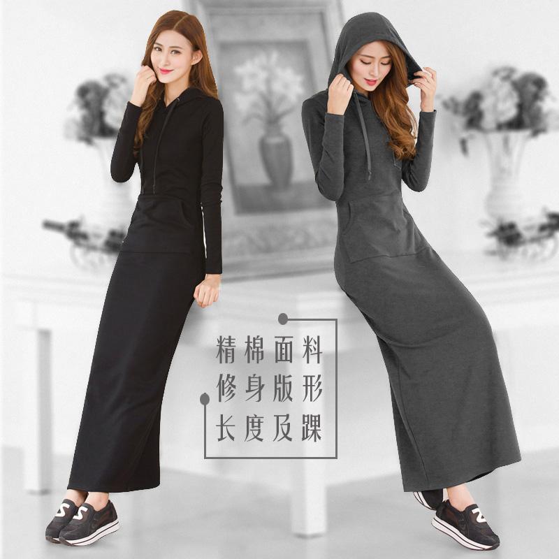 春秋新款2019超长拖地修身包臀卫衣(非品牌)