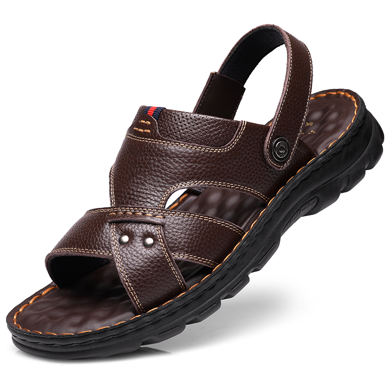 Sandals Men Summer Leather Leisure Beach Shoes Men's Trend