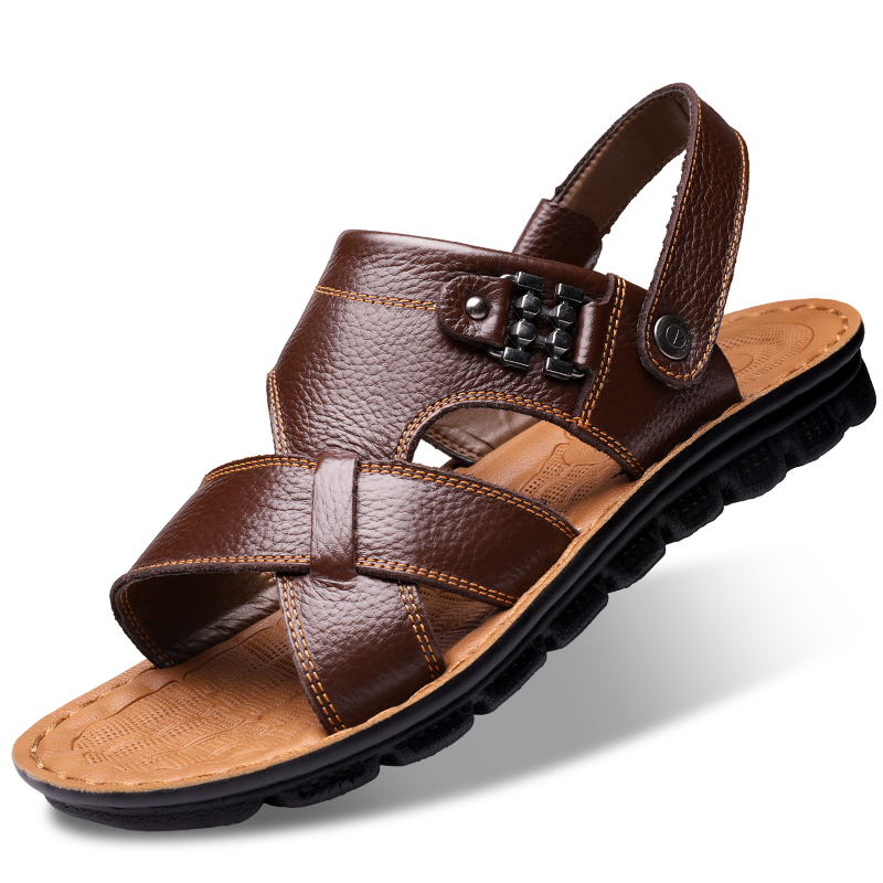 Men's Leather Sandals Summer 2019 New Recreational Beach Shoes Tidal Dual-Use Outside Dad's Men's Slippers