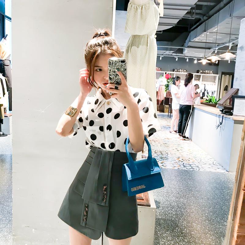 CICI 2018夏季新款女装 韩版双层领波点宽松雪纺显瘦百搭短袖衬衫