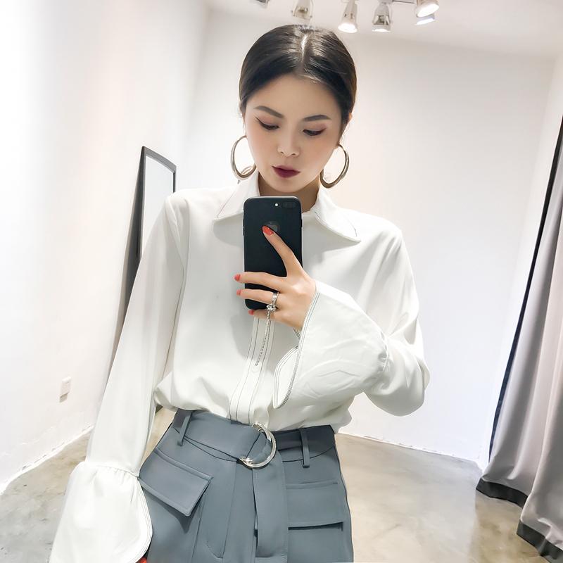 CICI 2018秋装新款女装 气质喇叭袖设计雪纺明线立体线条纯色衬衫